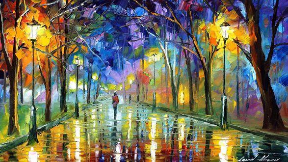 Обои На залитой дождем вечерней аллее с горящими фонарями в парке, виден одинокий силуэт удаляющейся девушки, художник Leonid Afremov / Леонид Афремов, Silence / Молчание