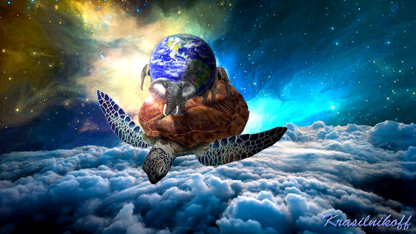 Обои Гигантская морская черепаха летит в космосе выше облаков с тремя слонами на панцире, держащих на своих спинах планету Земля, art Krasilnikoff