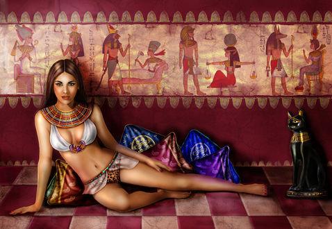 Обои Девушка принцесса, персонаж фильма Принцесса Нила с темными длинными волосами лежит на кофре с шахматным рисунком на мягких подушечках на фоне египетских фресок, рядом статуя черной кошки, by Crayonmaniac