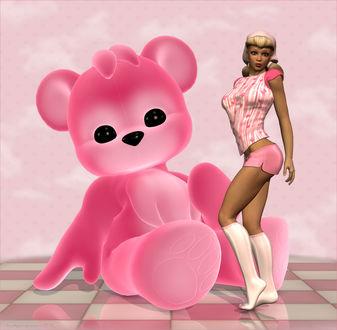 Обои Блондинка в розовой шапочке, в розовой кофточке с рисунком, в розовых шортиках, в белых гольфах, стоит на полу рядом с большим розовым медведем