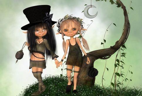 Обои Две девочки-эльфы, одна в шляпе, другая с веночком из цветов на голове, стоят на поляне с белыми мелкими цветами, на фоне кривого дерева и Луны