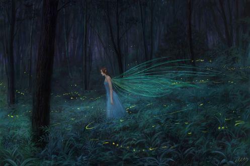 Обои Работа asleep / спящая, фея парит а воздухе над травой в волшебном лесу, by eleth89
