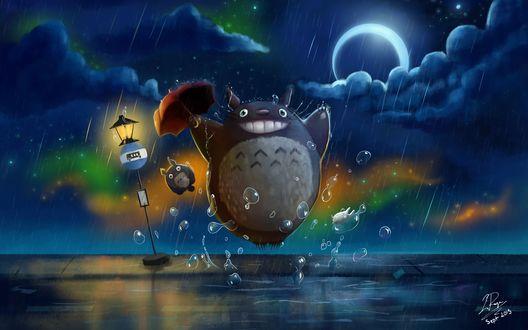 Обои Тоторо / Totoro / прыгает по лужам с раскрытым зонтом, мульфильм Мой сосед Тоторо, by Hayao Miyazaki
