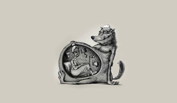 Обои Волк в чепчике, облизываясь сидит со вскрытым животом, в котором сидит бабушка с ноутбуком на коленях