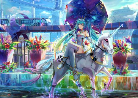 Обои Vocaloid Hatsune Miku / Вокалоид Хатсуне Мику на единороге, art by Pixiv Id 4293133