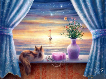 Обои Пушистая кошка лежит на подоконнике рядом с розовой сумочкой и вазой с цветами, в окне открывается вид на фантастический рассвет над морем и яхту вдали, by Terry Avon Redlin