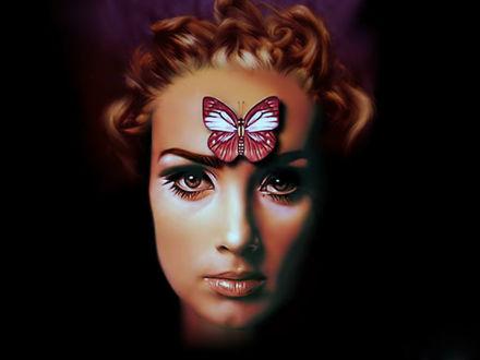 Обои Kaenа, The Prophecy / Каена: Пророчество, мультипликационный фильм, девушка на лбу которой устроилась большая красивая бабочка