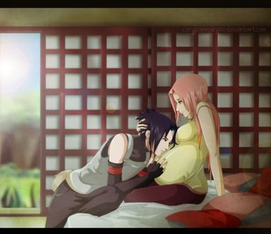 Обои Uchiha Sasuke / Учиха Сасуке обнимает беременную Haruno Sakura / Харуно Сакура, из аниме Naruto / Наруто, art by Ceruleanxpirate