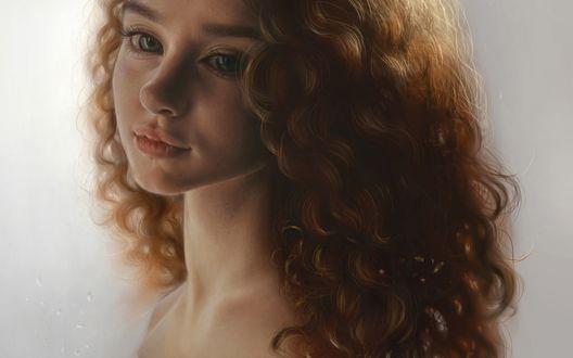 Обои Девушка с длинными, кучерявыми волосами, by Elena Sai