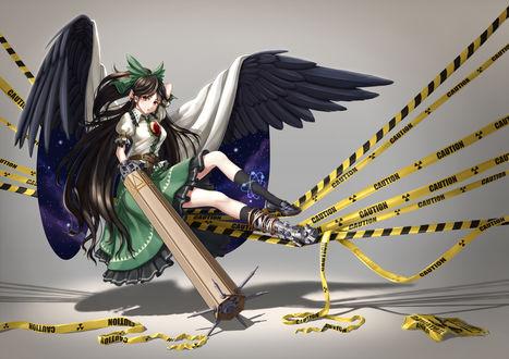 Обои Reiuji Utsuho / Рэйудзи Уцухо из игры Touhou Project / Проект Восток, art by Pixiv Id 6066544 (Caution)