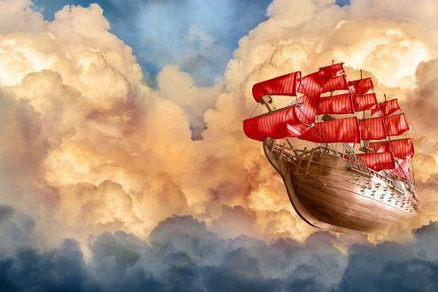 Обои Корабль с алыми парусами летит по небу среди облаков