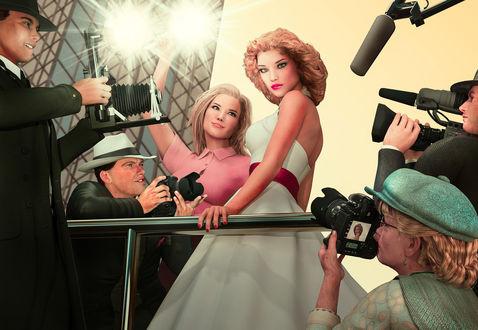 Обои Девушку-шатенку в белом платье фотографируют мужчины и женщины-фотографы в свете прожектора, by photorooster
