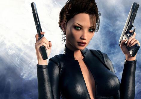 Обои Лара Крофт с голубыми глазами в черной одежде, держит в руках пистолеты, by photorooster