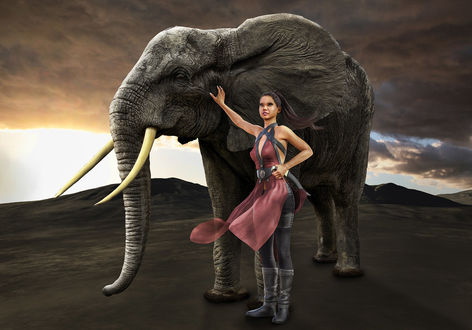 Обои Девушка с длинными темными волосами, в розовом платье, стоит рядом со слоном на фоне неба, by photorooster