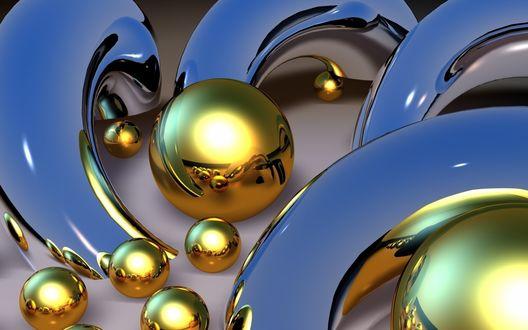 Обои Желтые шары и дуги