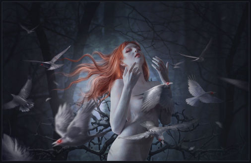 Обои Из тела девушки вылетают вороны-альбиносы, by 1simplemanips1