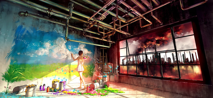 Обои Девушка рисует на стене картину, глядя в окно на задымленный город, by yuumei