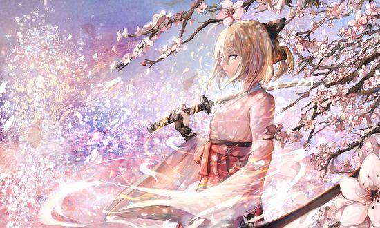 Обои Sakura Saber / Сэйбер Сакура с катаной стоит среди цветущей сакуры, из игры Fate / Grand Order, art by Sishenfan