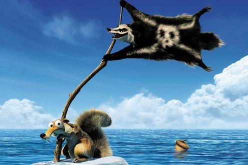 Обои Scrat / Скрэт, саблезубая крысобелка из мультфильма Ледниковый период 4: континентальный дрейф / Ice Age 4: Continental Drift на льдине посреди океана с пиратским флагом, в роли которого выступает барсук Гупта / Gupta