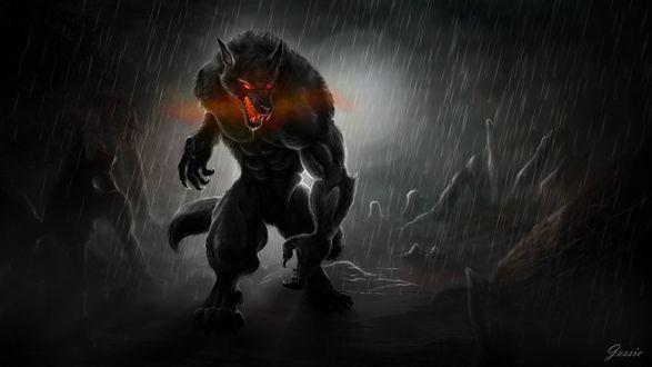 Обои Оборотень с красными глазами стоит в ночи под дождем