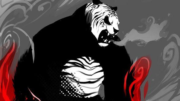 Обои Нарисованная панда-тигр в гневе рычит окруженная пламенем и дымом