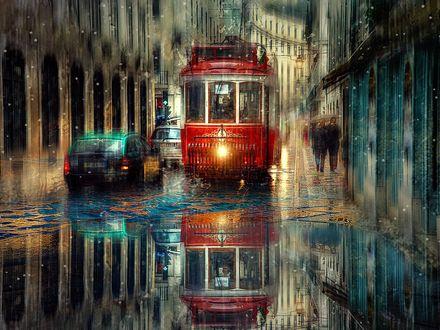 Обои В городе дождь, по узкой улочке ползет ретро трамвай, его обгоняют авто, на тротуарах прохожие под зонтиками, автор Эдуард Гордеев