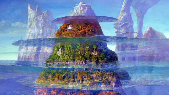 Обои Iblard Jikan / Время Ибларда, японский мультипликационный фильм, небо, горы, море, четырехэтажная гора-гамбургер, деревья, дома, by Naohisa Inoue / Наохиса Иноэ