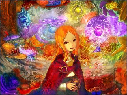 Обои Рыжая девочка в красной накидке с кружкой и мир ее фантазий, belive in wonderland