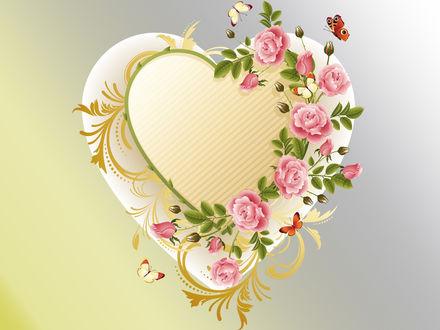 Обои Рендеринг, декоративное сердечко увитое розами, рядом порхают бабочки, двухцветный фон