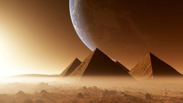 Обои Великие пирамиды, Египет, восход солнца, пустыня, большая планета в небе, рендеринг, Kaiser Prime
