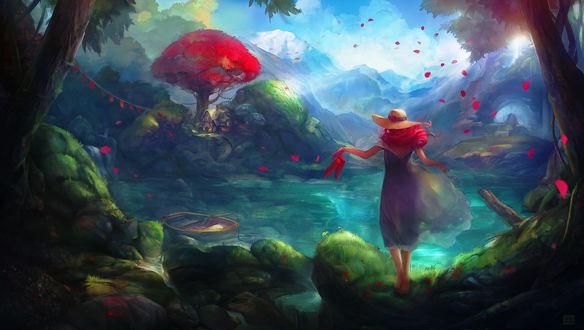 Обои Девушка с в шляпке с ярко-красными волосами, стоит на берегу водоема, by makushiro