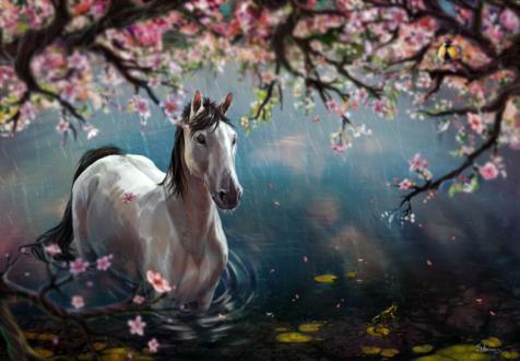 Обои Лошадь стоит в пруду под цветущим деревом, by SinteArkras