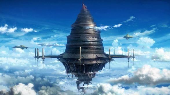 Обои Sword Art Online / Мастера меча онлайн, японский мульфильм, летающая крепость Айнкрад в небе