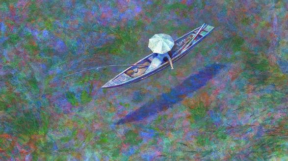 Обои Девушка под белым зонтом, сидя в лодке на отмели, ловит удочкой рыбу, art by Naohisa Inoue