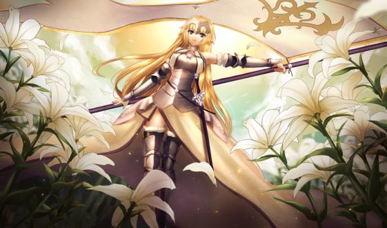 Обои Жанна дАрк / Joan of Arc / Jeanne dArc / Знаменосец / Рулер / Ruler из ранобэ Fate / Apocrypha и онлайн-RPG игры Fate / Grand Order шагает со знаменем по поляне с цветами