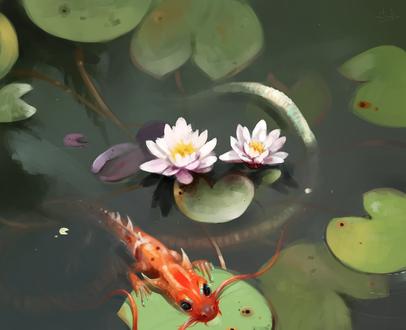 Обои Водный дракончик в пруду, by SalamanDra-S