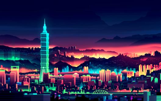 Обои Компьютерная графика ночного города