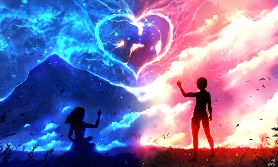 Обои Работа Im Always with You / Я всегда с тобой, парень с девушкой стоят на фоне неба с сердечком, by ryky