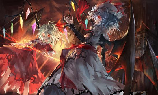 Обои Remilia Scarlet / Ремилия Скарлет и Flandre Scarlet / Фландре Скарлет занимаются черной магией, персонажи из серии компьютерных игр Touhou Project / Проект «Восток»