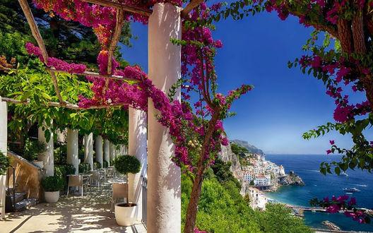 Обои Manarola, Italy / Манарола, Италия, небо, море, город, цветы, лето