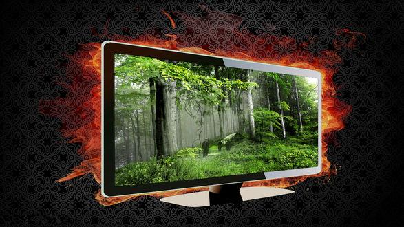 Обои Монитор на котором лес, люди и домик, на заднем плане пламя, темный фон, рендеринг