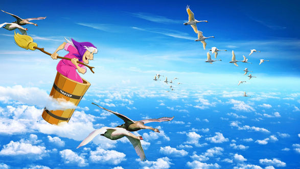 Обои Баба-Яга со своими лебедями летит на отдых в теплые края