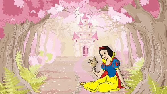 Обои Белоснежка сидит на дороге к розовому замку