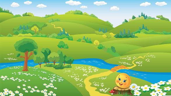 Обои Колобок на пеньке на фоне зеленых холмов и речки