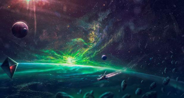 Обои Планеты и космический корабль в космосе, by matkraken