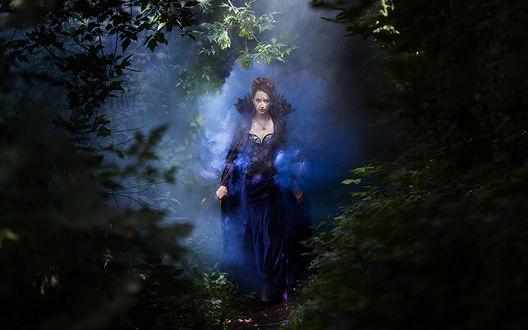 Обои Девушка в старинном, темно-синем платье идет по тропинке среди ночного леса, освещенная ярким светом сквозь легкий туман, by Aleksandra FOX