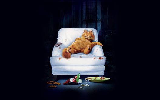 Обои Garfield / Гарфилд, кот, персонаж известного кинофильма довольно развалился в кресле, обожравшись чипсами и печеньем, темная комната, ночь
