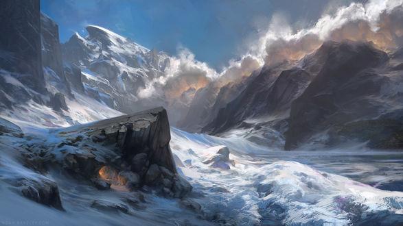 Обои Освещенная светом костра пещера в заснеженных горах, by Noah Bradley