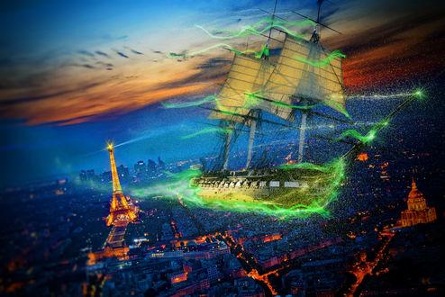 Обои Сказочный парусник над Парижем