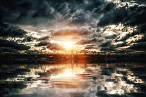 Обои Санкт - Петербург, мост на Неве, фотограф Михайлов Андрей